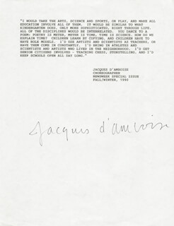 JACQUES D'AMBOISE - TYPED QUOTATION SIGNED