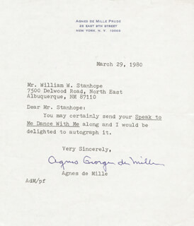AGNES GEORGE DE MILLE - TYPED NOTE SIGNED 03/29/1980
