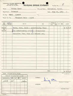 Autographs: IRVING ASHER - DOCUMENT SIGNED 06/24/1953