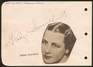 GLADYS SWARTHOUT - AUTOGRAPH CIRCA 1935 CO-SIGNED BY: MARIAN NIXON