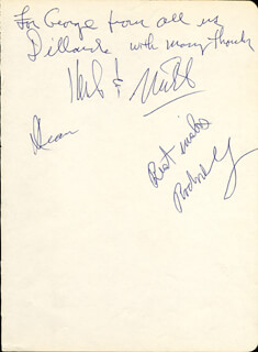 THE DILLARDS - AUTOGRAPH NOTE SIGNED CO-SIGNED BY: THE DILLARDS (HERB PEDERSEN), THE DILLARDS (DEAN WEBB), THE DILLARDS (RODNEY DILLARD)