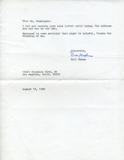BILL MAHAN - TYPED LETTER SIGNED 08/19/1980