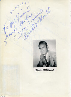 SKEETS McDONALD - AUTOGRAPH NOTE SIGNED 05/28/1966 CO-SIGNED BY: JOANIE HALL