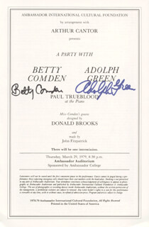 Autographs: ADOLPH GREEN - PROGRAM COVER SIGNED CO-SIGNED BY: BETTY COMDEN