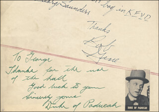 DUKE OF PADUCAH - AUTOGRAPH NOTE SIGNED CO-SIGNED BY: JENKS TEX CARMAN