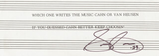 SAMMY CAHN - TYPED NOTE ON SHEET MUSIC SIGNED 1979