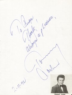 TOMMY CASH - AUTOGRAPH NOTE SIGNED 02/11/1972
