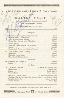 WALTER CASSEL - PROGRAM SIGNED CIRCA 1955