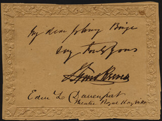 SIMS REEVES - AUTOGRAPH NOTE SIGNED CO-SIGNED BY: EDWARD LOOMIS DAVENPORT
