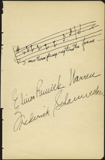 Autographs: ELINOR REMICK WARREN - AUTOGRAPH MUSICAL QUOTATION SIGNED CO-SIGNED BY: LAURITZ MELCHIOR, FREDERICK SCHAUWECKER