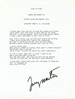 TONY MARTIN - TYPED LYRIC(S) SIGNED