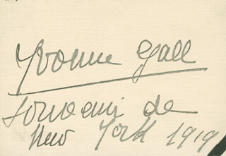 YVONNE GALL - AUTOGRAPH 1919