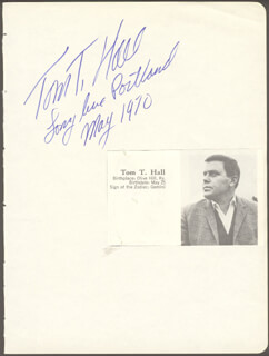 TOM T. HALL - AUTOGRAPH QUOTATION SIGNED 05/1970