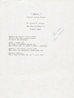 HELEN O'CONNELL - TYPED LYRIC(S) SIGNED