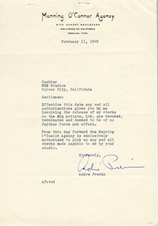 ANDRE PREVIN - TYPED LETTER SIGNED 02/11/1949