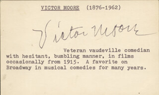 VICTOR MOORE - AUTOGRAPH