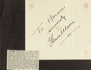 GRACE MOORE - AUTOGRAPH NOTE SIGNED
