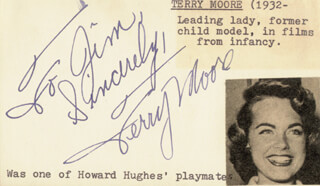 TERRY MOORE - AUTOGRAPH NOTE SIGNED