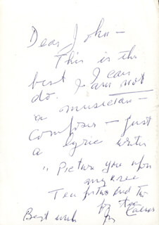 IRVING CAESAR - AUTOGRAPH LYRICS SIGNED