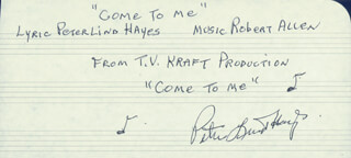 PETER LIND HAYES - AUTOGRAPH LYRICS SIGNED