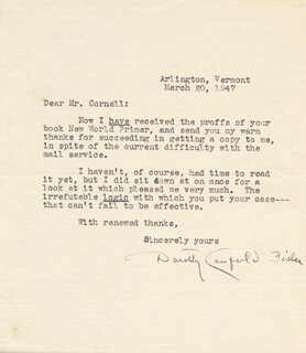 DOROTHY CANFIELD FISHER - TYPED LETTER SIGNED 03/20/1947