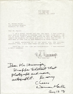 NORMAN MAILER - AUTOGRAPH NOTE SIGNED 08/13/1991