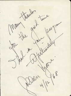 COLLEEN MOORE - AUTOGRAPH NOTE SIGNED 04/12/1968