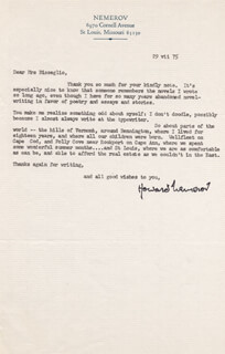 HOWARD NEMEROV - TYPED LETTER SIGNED 07/29/1975