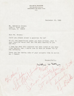 Autographs: GWENDOLYN BROOKS - AUTOGRAPH NOTE SIGNED CIRCA 1989