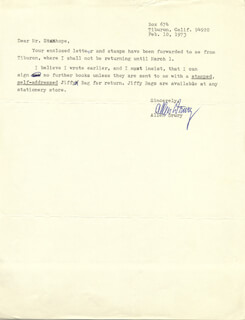 ALLEN DRURY - TYPED NOTE SIGNED