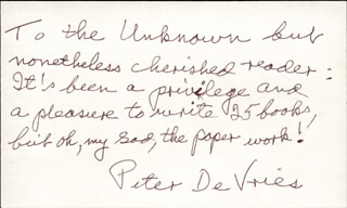 PETER DEVRIES - AUTOGRAPH LETTER SIGNED