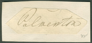 Autographs: PRIME MINISTER HENRY JOHN TEMPLE (GREAT BRITAIN) - SIGNATURE(S)