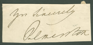 Autographs: PRIME MINISTER HENRY JOHN (VISCOUNT PALMERSTON III) TEMPLE (GREAT BRITAIN) - AUTOGRAPH SENTIMENT SIGNED