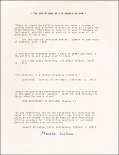 PRIME MINISTER HAROLD WILSON (GREAT BRITAIN) - TYPED QUOTATION SIGNED