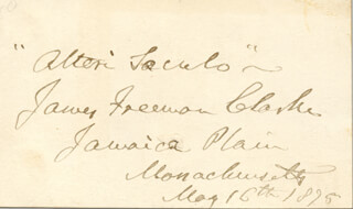 Autographs: JAMES FREEMAN CLARKE - AUTOGRAPH QUOTATION SIGNED 05/16/1875