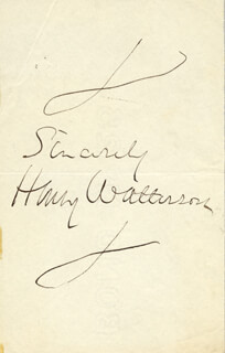 HENRY MARSE HENRY WATTERSON - AUTOGRAPH SENTIMENT SIGNED