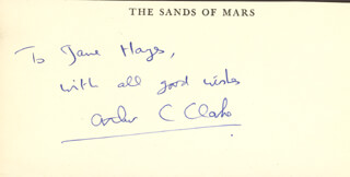 SIR ARTHUR C. CLARKE - INSCRIBED SIGNATURE