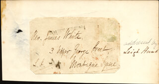 JAMES HENRY LEIGH HUNT - AUTOGRAPH ENVELOPE SIGNED
