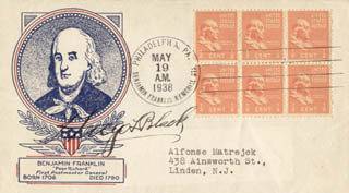 Autographs: ASSOCIATE JUSTICE HUGO L. BLACK - COMMEMORATIVE ENVELOPE SIGNED