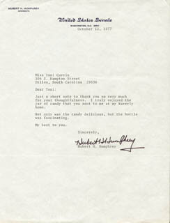 VICE PRESIDENT HUBERT H. HUMPHREY - TYPED LETTER SIGNED 10/12/1977