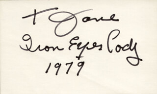 IRON EYES CODY - INSCRIBED SIGNATURE 1979