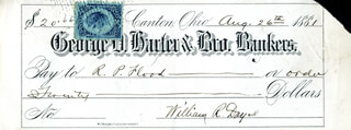 ASSOCIATE JUSTICE WILLIAM R. DAY - AUTOGRAPHED SIGNED CHECK 08/26/1881
