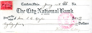 ASSOCIATE JUSTICE WILLIAM R. DAY - CHECK DOUBLE SIGNED 01/14/1900