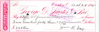 Autographs: ASSOCIATE JUSTICE WILLIAM R. DAY - CHECK SIGNED 10/28/1885