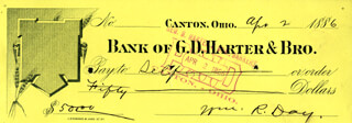ASSOCIATE JUSTICE WILLIAM R. DAY - AUTOGRAPHED SIGNED CHECK 04/02/1886