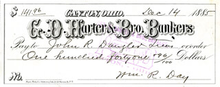 ASSOCIATE JUSTICE WILLIAM R. DAY - AUTOGRAPHED SIGNED CHECK 12/14/1885