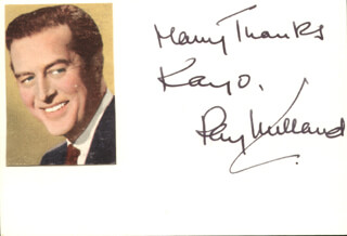 RAY MILLAND - AUTOGRAPH NOTE SIGNED