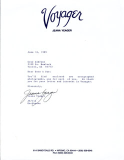 JEANA YEAGER - TYPED NOTE SIGNED 06/16/1989