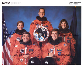SPACE SHUTTLE COLUMBIA - STS - 32 CREW - AUTOGRAPHED SIGNED PHOTOGRAPH CO-SIGNED BY: BONNIE J. DUNBAR, CAPTAIN DANIEL C. BRANDENSTEIN, CAPTAIN JAMES D. WETHERBEE, MARSHA IVINS, G. DAVID LOW