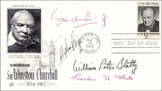 STEPHEN KING - FIRST DAY COVER SIGNED CO-SIGNED BY: THEODORE H. WHITE, WILLIAM PETER BLATTY, LESLIE CHARTERIS